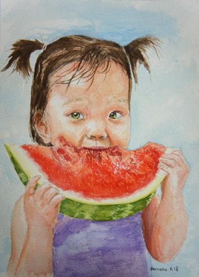 Armana Alexandra Aquarelle portrait fille